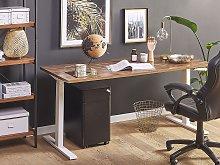 Manually Adjustable Desk Dark Wood Tabletop White