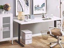 Manually Adjustable Desk White Tabletop Black