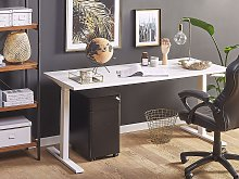 Manually Adjustable Desk White Wooden Tabletop