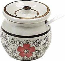 MANXUEUP Porcelain Condiment Jar Spice Container