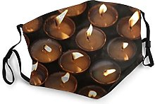 Many Candle Flames Glowing Dark Adult Black Border