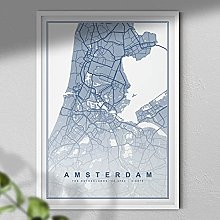 Map of Amsterdam Print - Map Wall Art | Travel