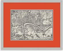Map of London Framed Print, 43.5 x 53.5cm, Orange