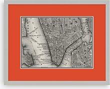 Map of New York Framed Print, 43.5 x 53.5cm, Orange