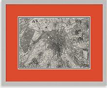 Map of Paris Framed Print, 43.5 x 53.5cm, Orange