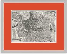Map of Rome Framed Print, 43.5 x 53.5cm, Orange