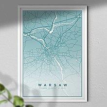 Map of Warsaw Print - Map Wall Art | Travel Poster