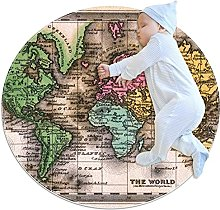 Map, Round Area Rug Pattern Round Children Area
