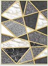 Marble Area Rugs, Washable Carpet Modern Black and