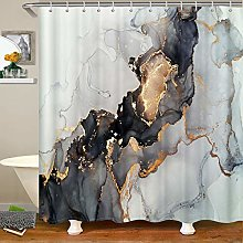 Marble Bathroom Shower Curtain,Grey and White