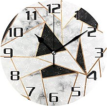 Marble Design Geometric Lines Wall Clock Silent