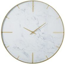 Marble-effect printed glass and gold metal clock