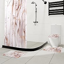 Marble Shower Curtain with Bath Mats Sets, 4 Pcs
