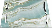 Marble Turquoise Teal And Gold Table Placemats