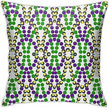 Mardi Gras Beads Throw Pillow Cover Square Cushion