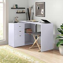 Marielle L-Shape Desk Zipcode Design Colour: White