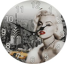 Marilyn Monroe Picture Glass Wall Clock