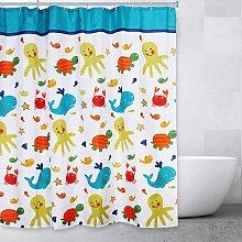 Marine life bathroom shower curtain for boys and