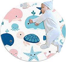 Marine Life Whale, Kids Round Rug Polyester Throw