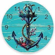 Marine PVC Wall Clock, Silent Non-Ticking Round