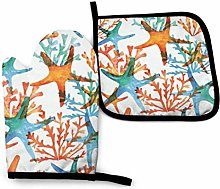 Marine Starfish Coral Oven Mitts and Pot Holders