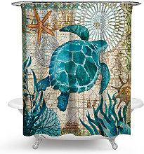 Marine Turtle Shower Curtain Green Waterproof