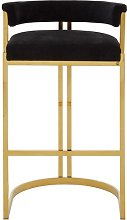 Markeb Black Velvet Bar Stool With Gold Base