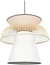 Market Set - Pink and white linen pendant lamp