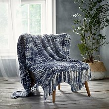 Marley Blue Throwover Throw Blanket Knitted