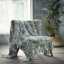 Marley Grey Throwover Throw Blanket Knitted