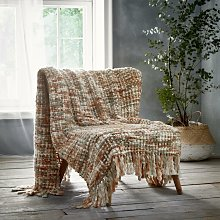 Marley Terracotta Throwover Throw Blanket Knitted