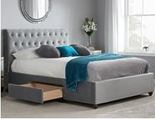 Marlow Grey Velvet Fabric 2 Drawer Storage Bed -