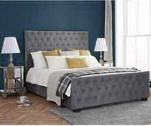Marquis Grey Velvet Fabric Bed Frame - 6ft Super