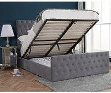 Marquis Grey Velvet Ottoman Storage Bed Frame -