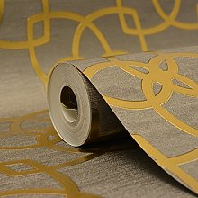 Marrakech Geometric Wallpaper Gold and Grey Muriva