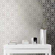 Marrakech Geometric Wallpaper Silver and Grey