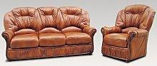 Mars Range 3+1+1 Genuine Italian Tan Leather Sofa