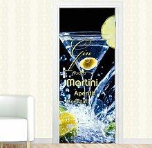 Martini Gin Door Sticker East Urban Home