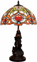 MARUA Tiffany Style Table Lamps Accent Rose Red