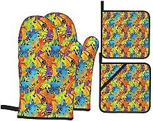 Marutuki Color Splashes Funky,Oven Mitts and Pot