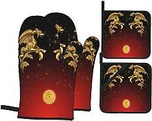Marutuki Gold Decorative Dragons Design,Oven Mitts