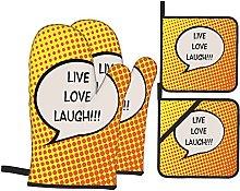 Marutuki Live Laugh Love Speech Bubble Print,Oven