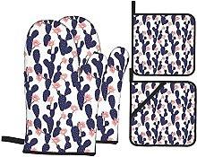 Marutuki Navy Cactus Garden Print,Oven Mitts and