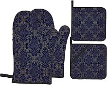 Marutuki Navy In Gold And Blue Filigree Floral