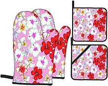 Marutuki Tropical Flowers Pink,Oven Mitts and Pot