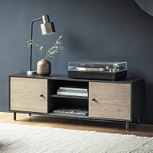 Marvale Wooden TV Stand In Dark Lacquer With Two