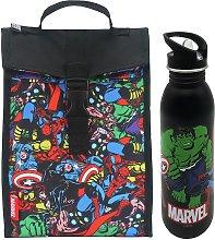 Marvel Comics Fold Down Lunch Bag & Bottle - 700ml