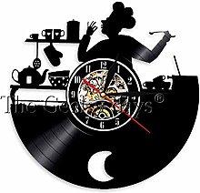 MASERTT Kitchen Chef Wall Clock Cook Vinyl Record
