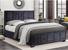 Masira Fabric Small Double Bed In Black Crushed