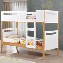 Mason White and Oak Wooden Bunk Bed Frame Only -